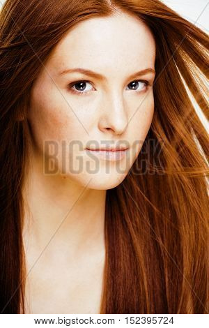 young beauty smiling woman with ginger flying hair close up isolated on white background, healthcare spa people concept