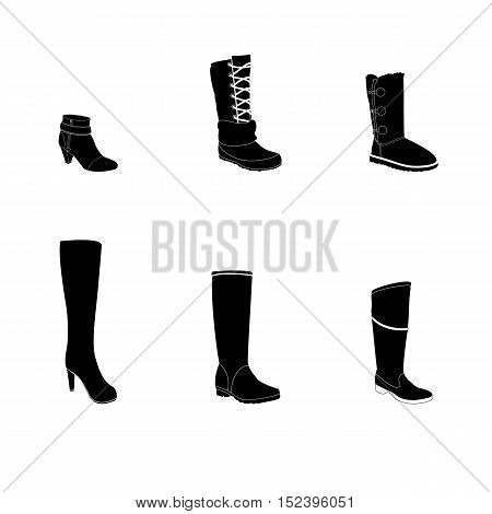 Woman's boots, footwear silhouettes, white details. Names: ankle boot, high-heel boot, rubber boots, snow boots, thigh-boots, realistic footwear