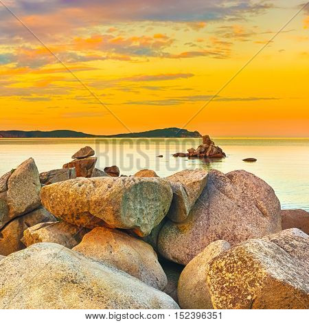 Amazing landscape at sunset. Stones on the foreground.