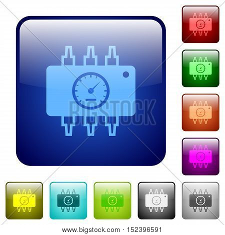 Set of hardware diagnostics color glass rounded square buttons