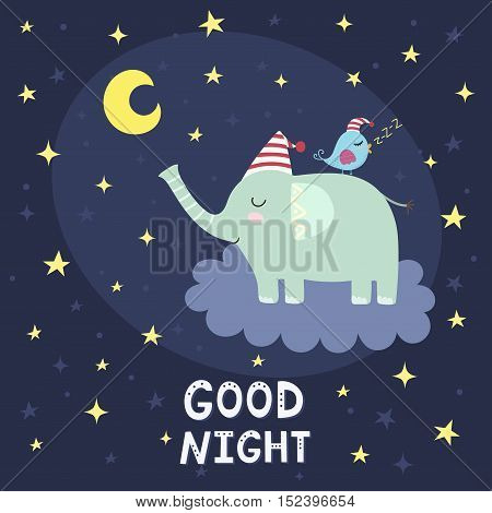 Good night card with cute elephant flying on the cloud. Vector illustration