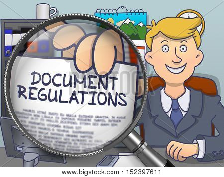 Document Regulations through Magnifying Glass. Businessman Showing Paper with Concept. Closeup View. Colored Doodle Illustration.