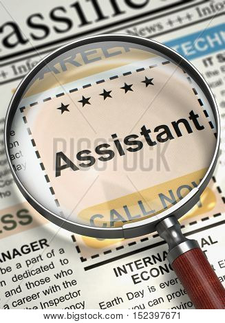 Column in the Newspaper with the Small Ads of Job Search of Assistant. Assistant. Newspaper with the Classified Ad. Concept of Recruitment. Blurred Image with Selective focus. 3D Illustration.