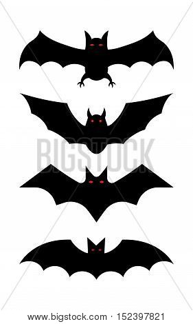Silhouettes of bats flying in a flat style. Bats vector set isolated on white background.
