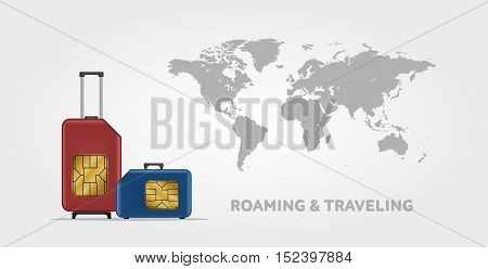 Travel SIM vector illustration on blue radial gradient background. Roaming. Luggage. World map. poster