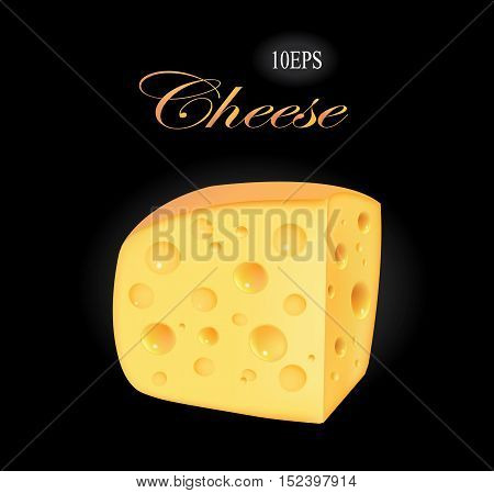 Piece of cheese on a black background. Realistic vector illustration of cheese EPS10. cheese with holes