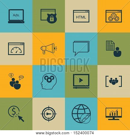 Set Of Seo Icons On Report, Keyword Marketing And Questionnaire Topics. Editable Vector Illustration