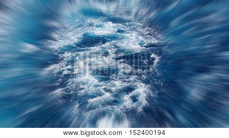 The foam on the blue water of sea, blurred in postproduction