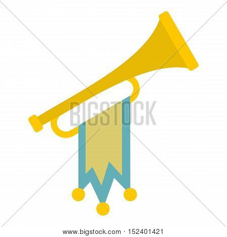 Trumpet with flag icon. Flat illustration of trumpet vector icon for web design