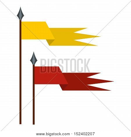 Gold and red medieval flags icon. Flat illustration of flag vector icon for web design