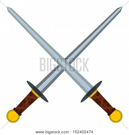 Medieval swords icon. Flat illustration of swords vector icon for web design