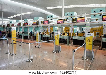 BARCELONA, SPAIN - CIRCA NOVEMBER, 2015: inside Barcelona Airport. Barcelona-El Prat Airport is an international airport. It is the main airport of Catalonia, Spain.