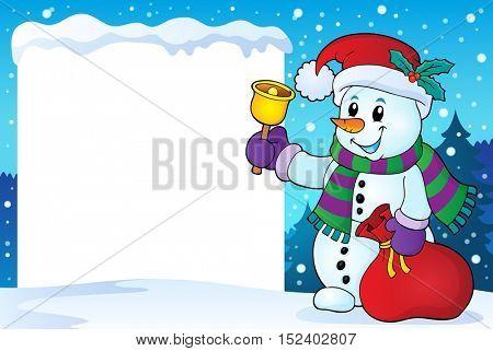 Snowy frame with Christmas snowman 1 - eps10 vector illustration.