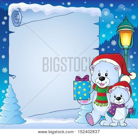 Parchment with Christmas bears theme 4 - eps10 vector illustration.