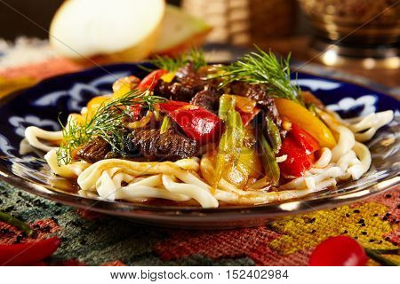 Uyghur-Style Noodles with Meat and Laghman Sauce