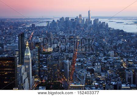 Manhattan Down Town Aerial View