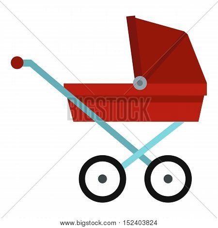 Pram baby carriage icon. Flat illustration of pram vector icon for web design