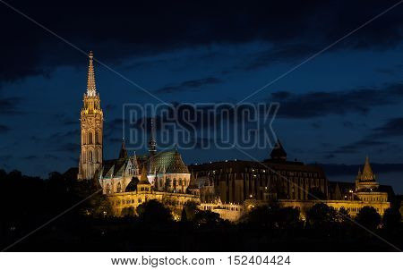 Matyas Church illuminated at night Budapest Hungary - 23 Sep 2016