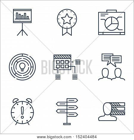 Set Of Project Management Icons On Board, Personal Skills And Discussion Topics. Editable Vector Ill