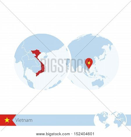 Vietnam On World Globe With Flag And Regional Map Of Vietnam.