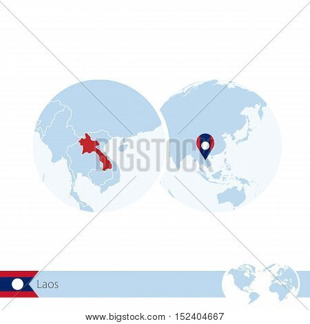 Laos On World Globe With Flag And Regional Map Of Laos.