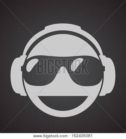 icon men dj in headphone and shutter shades sunglasses. vector print illustration