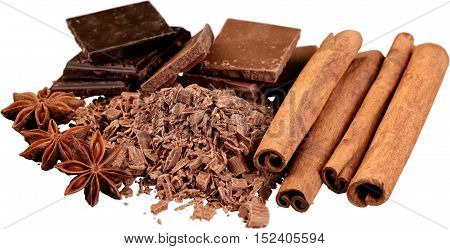 Grated Chocolate with  Cinnamon, Anise and Chocolate Blocks - Isolated