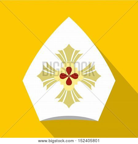 Christian hat icon. Flat illustration of christian hat vector icon for web isolated on yellow background