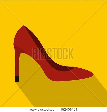 Red high heel shoe icon. Flat illustration of high heel shoe vector icon for web isolated on yellow background