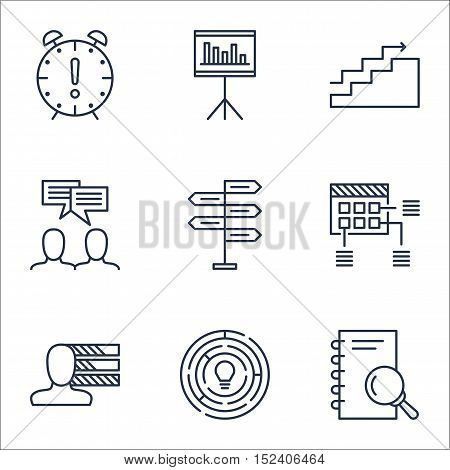 Set Of Project Management Icons On Personal Skills, Presentation And Schedule Topics. Editable Vecto