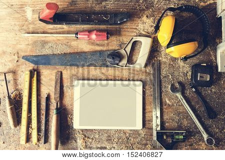 Woodshop Timber Lumber Professional Tools Concept