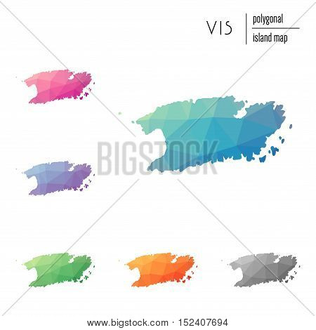 Set Of Vector Polygonal Vis Maps Filled With Bright Gradient Of Low Poly Art. Multicolored Island Ou