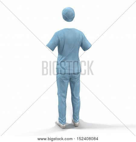 Back wiew blue doctor uniform isolated on white background. No people. 3D illustration