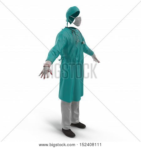 Surgical clothes for man on white background. No people. 3D illustration