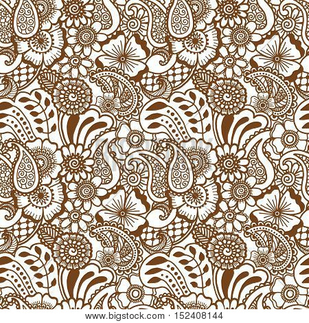 Paisley mehndi seamless violet pattern. Vector illustration brown and white