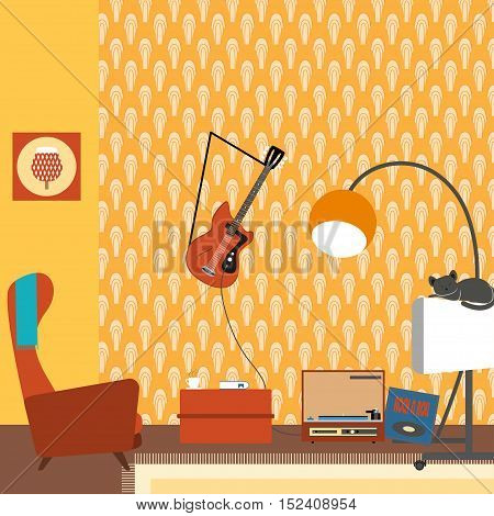 Vector illustration of a living room interior with armchair TV guitar in the style of 70's.