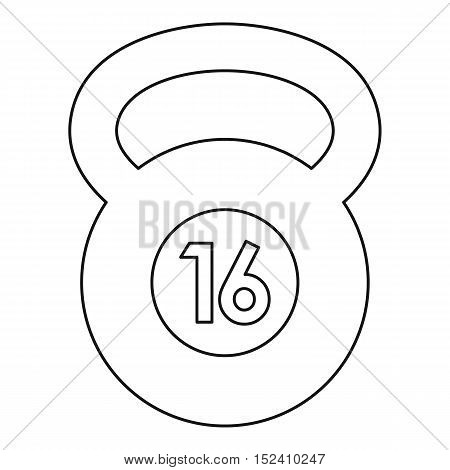 Kettlebell 16 kg icon. Outline illustration of kettlebell vector icon for web