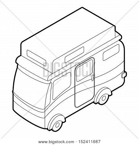 Travelling camper icon. Outline illustration of travelling camper vector icon for web