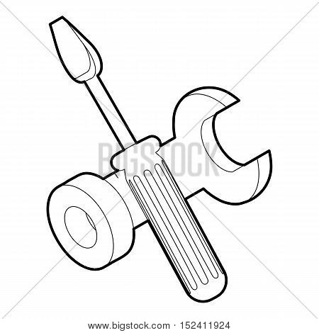 Screwdriver and wrench icon. Outline illustration of screwdriver and wrench vector icon for web