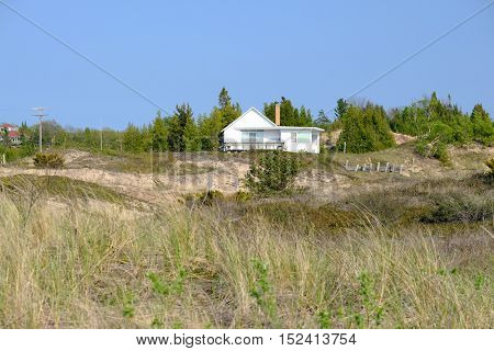 House in dunes, Point Betsie, Lake Michigan, MI, USA