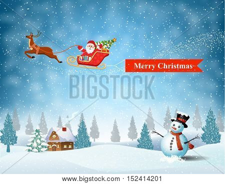 Santa Claus sleigh fly over the forest, house, snowman and pulled merry christmas banner . Christmas ard, invitation, background, design template. vector illustration