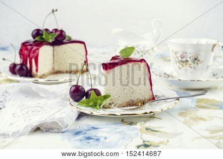 Cherry Cheesecake on Plate