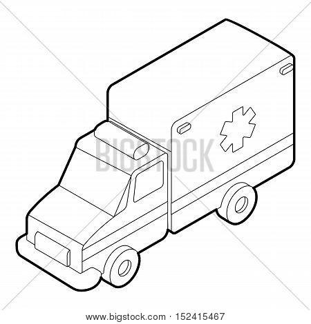 Ambulance icon. Outline illustration of ambulance vector icon for web