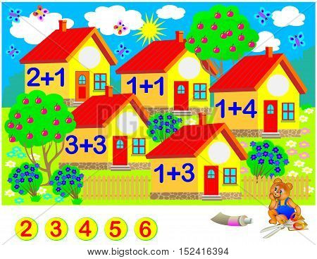 Exercises for children - need to solve examples, cut the circles and glue the house numbers in relevant places. Vector cartoon image.