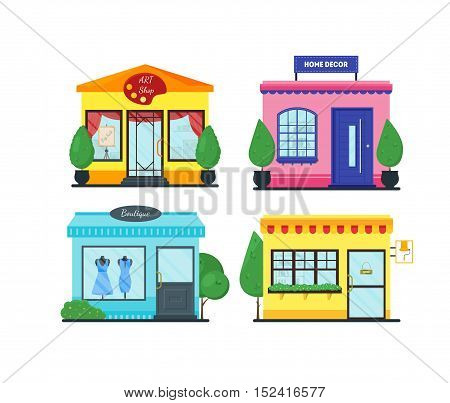 Flat shop set. Shopping mall building. Set of colorful funny cartoon city store. Market shop place. Business marketing collection. Infographic elements. Isolated vector illustration.