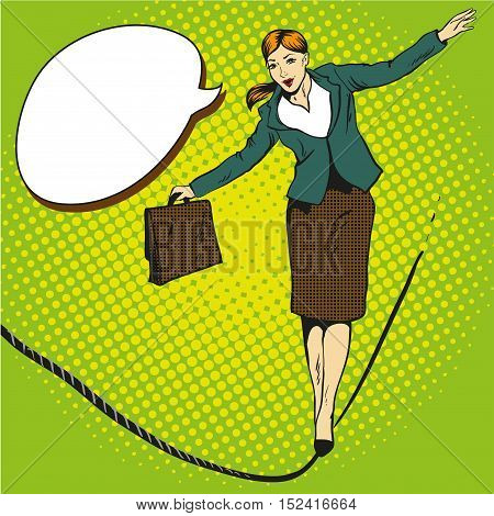 Business concept vector illustration in retro comic pop art style. Businesswoman walks on tight rope.
