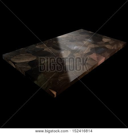 View Of An Obsidian Plate On A Black Background