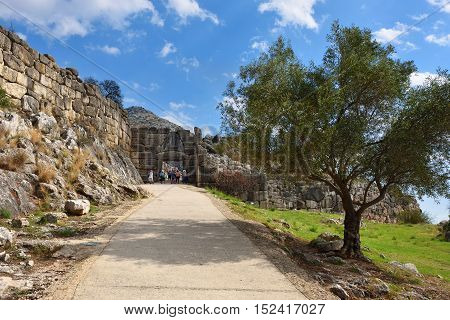Mycenae Greece - Sept 23 2016: The Lion Gate. The archaeological sites of Mycenae and Tiryns have been inscribed upon the World Heritage List of UNESCO