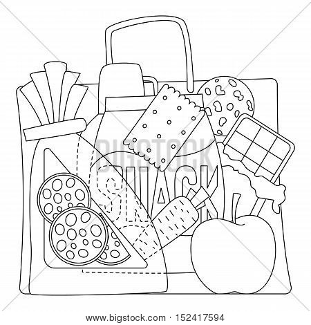 Bag with purchases icons set. Outline illustration of bag with purchases vector icons for web