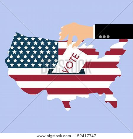 Presidential Election Day Vote. American Flag's Symbolic Elements - Red Stripes and White Stars.